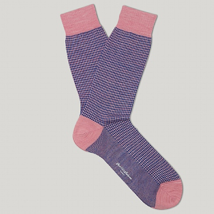Pink and Blue Houndstooth Merino Mix Sock