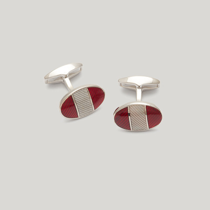 Silver Red and Grey Oval Stripe Cufflink