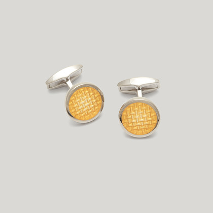 Yellow Silver Circle Weave Cufflink