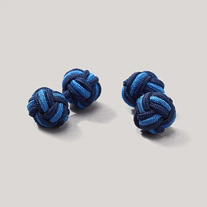 Navy and Electric Elastic Knot Cufflink