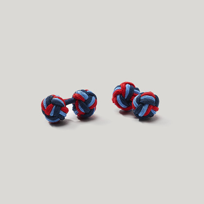 Navy, Sky and Red Elastic Knot Cufflink