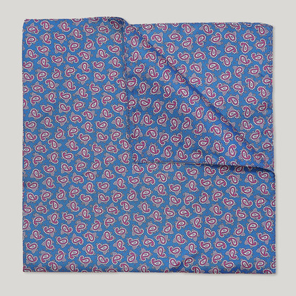 Blue and Purple Paisley Printed 100% Silk Hank
