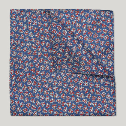 Blue and Scarlet Paisley Printed 100% Silk Hank