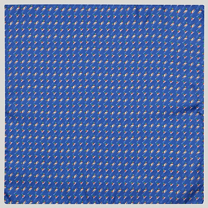 Blue and Red Duck 100% Silk Printed Handkerchief