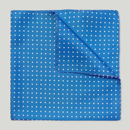 Blue and White Spot Printed 100% Silk Hank