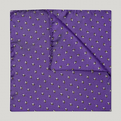 Lavender and Lilac Bee Printed Silk Hank