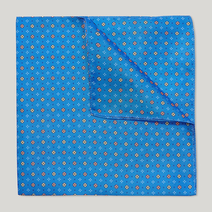 Blue and Pink Small Daisy Flower Printed 100% Silk Hank