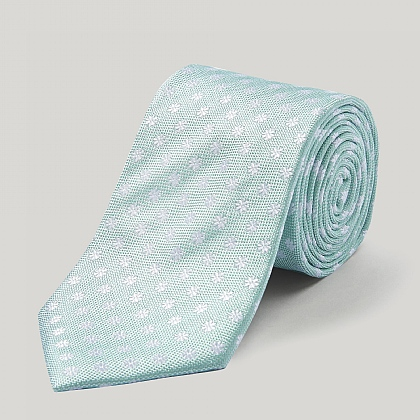 Green and White Daisy Woven Silk Tie