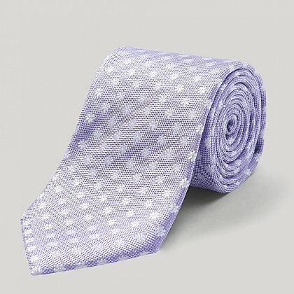 Lilac and White Daisy Woven Silk Tie