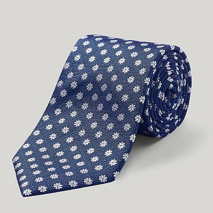 Royal and White Daisy Woven Silk Tie