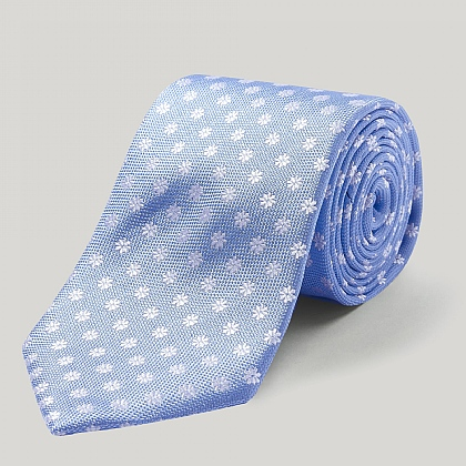 Sky and White Daisy Woven Silk Tie