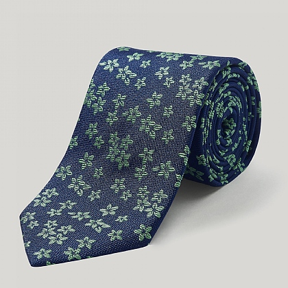 Navy and Green Big Flower Woven Silk Tie