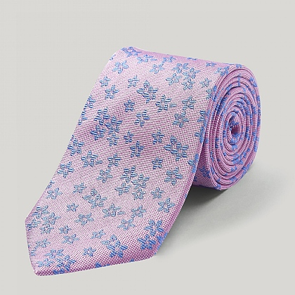 Pink and Royal Big Flower Woven Silk Tie