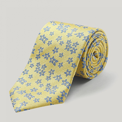 Yellow and Royal Big Flower Woven Silk Tie