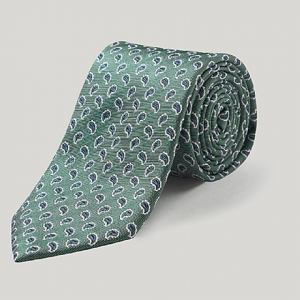 Green/Purple Paisley Woven Silk Tie