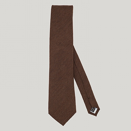 Brown Herringbone Silk Woven Tie