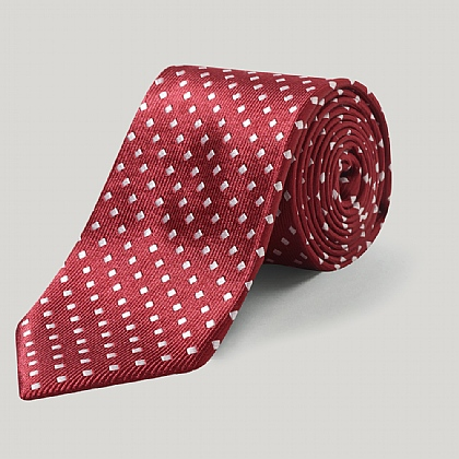 Red/White Small Diamond Woven Silk Tie