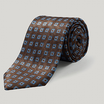 Brown/Sky Double Square Woven Silk Tie