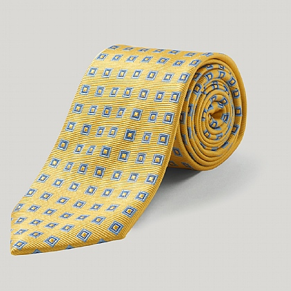 Yellow/Blue Double Square Woven Silk Tie