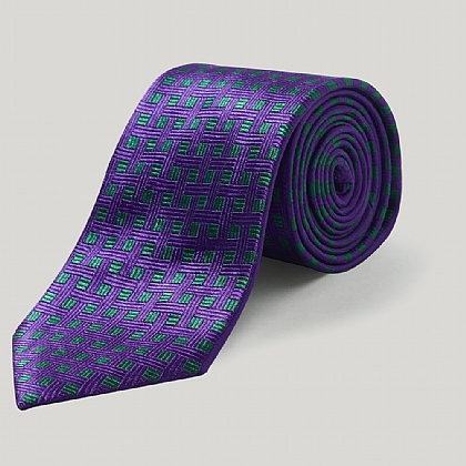 Purple/Green Boxes Woven Silk Tie