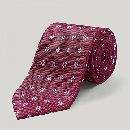 Fuschia and Sky Spikey Flower Woven Silk Tie