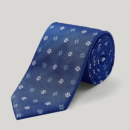 Royal and White Spikey Flower Woven Silk Tie