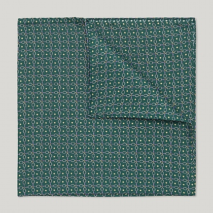 Green Tennis Raquets Printed Silk Handkerchief
