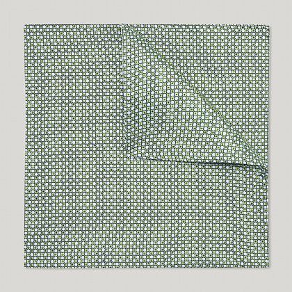 Green Neart Circles Printed Silk Hank