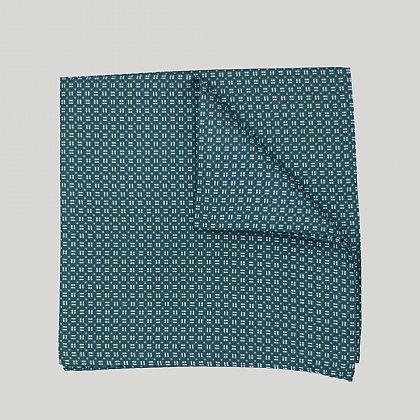 Green Neat Squares Printed Silk Hank