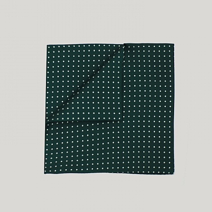 Racing Green with White Spot Printed Silk Hank