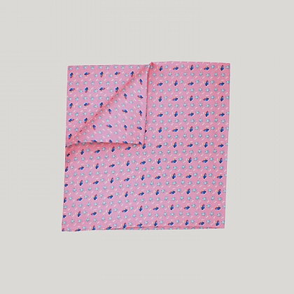 Pink Ship and Palm Tree Printed Silk Hank