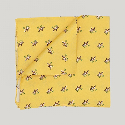 Yellow Dog Print Silk Hank