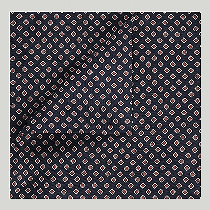 Navy and Red Squares Printed Silk Hank
