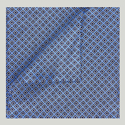 Sky and Navy Squares Printed Silk Hank