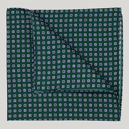 Green Squares Silk Hank