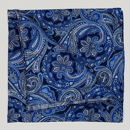 Navy and Sky Large Paisley Silk Hank