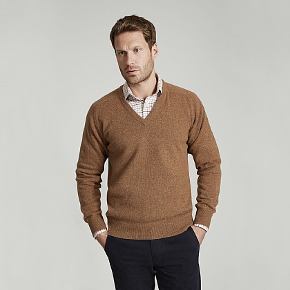 Mid Brown V-Neck Lambswool Sweater