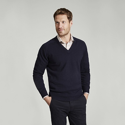 Navy V-Neck Lambswool Sweater