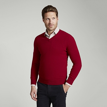 Bordeaux Cashmere V-Neck Sweater