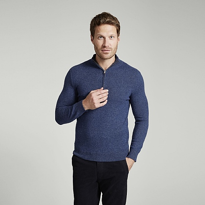 Denim Cashmere Zip Neck Sweater