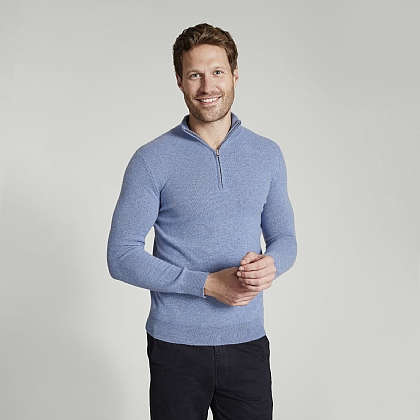 Stonewash Blue Cashmere Zip Neck Sweater