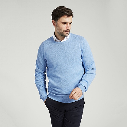 Pale Blue Cotton Cashmere Crew Neck Sweater