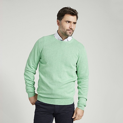 Spearmint Cotton Cashmere Crew Neck Sweater