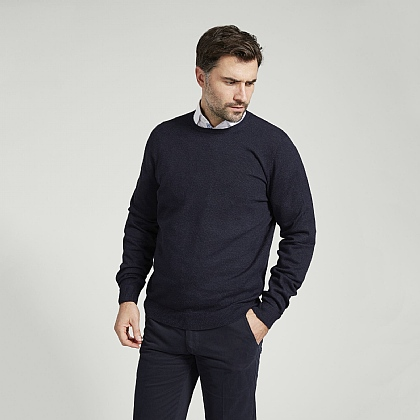 Dark Navy Cotton Cashmere Crew Neck Sweater