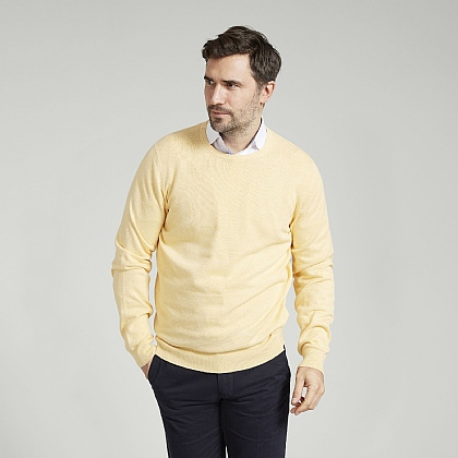 Pale Yellow Cotton Cashmere Crew Neck Sweater