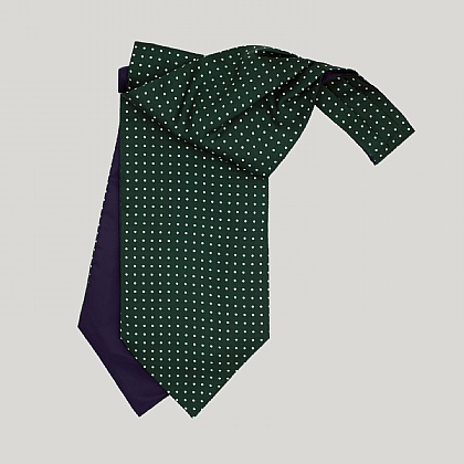 Racing Green and White Spot Silk Cravat