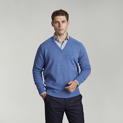 Jeans Blue V-Neck Lambswool Jumper