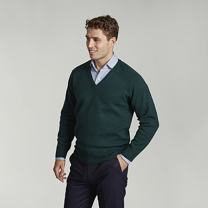 Tartan Green V-Neck Lambswool Jumper