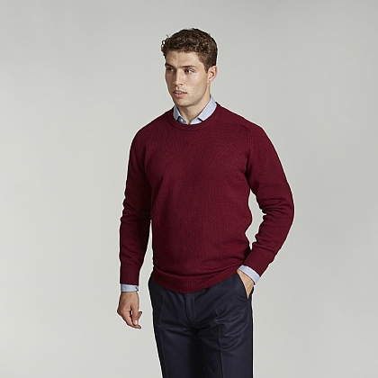Bordeaux Crew Neck Lambswool Jumper