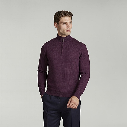 Dark Purple Half Zip Merino Wool Jumper